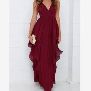 Lulu's Water Falling-For You Burgundy Maxi Dress